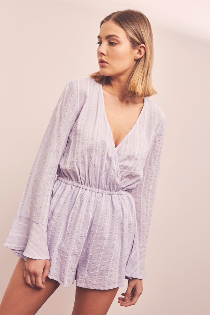 COAST STRIPE PLAYSUIT lavender w white