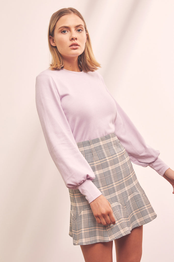 LANDMARK CHECK SKIRT black w white