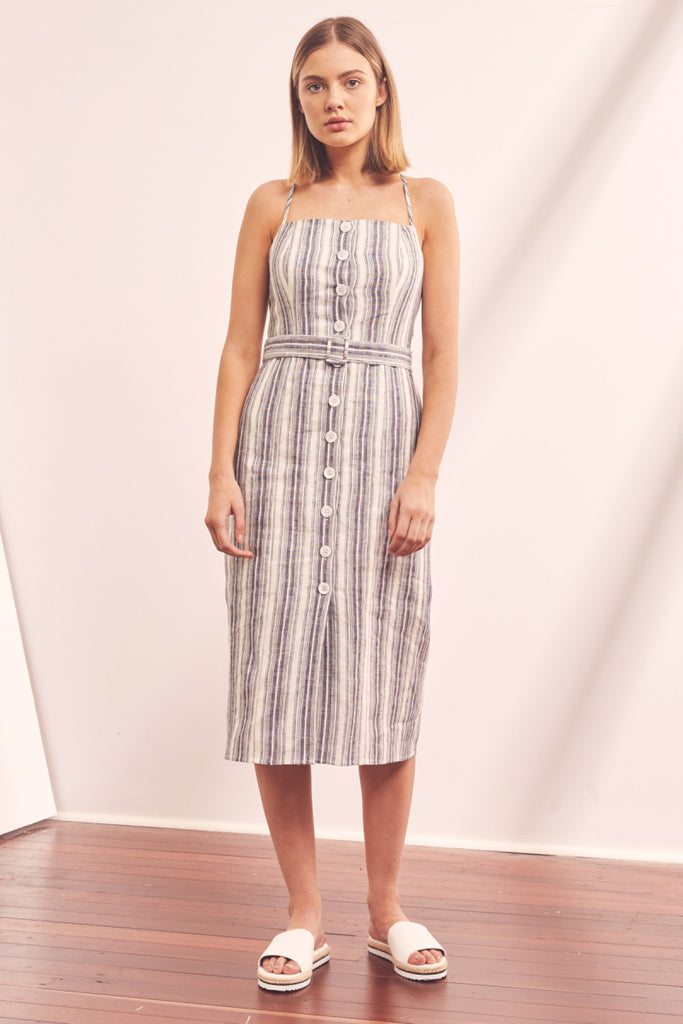 GUIDE STRIPE MIDI DRESS navy w ivory