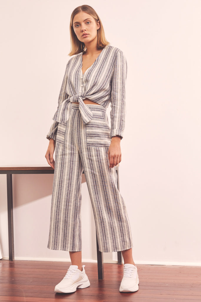 GUIDE STRIPE PANT navy w ivory