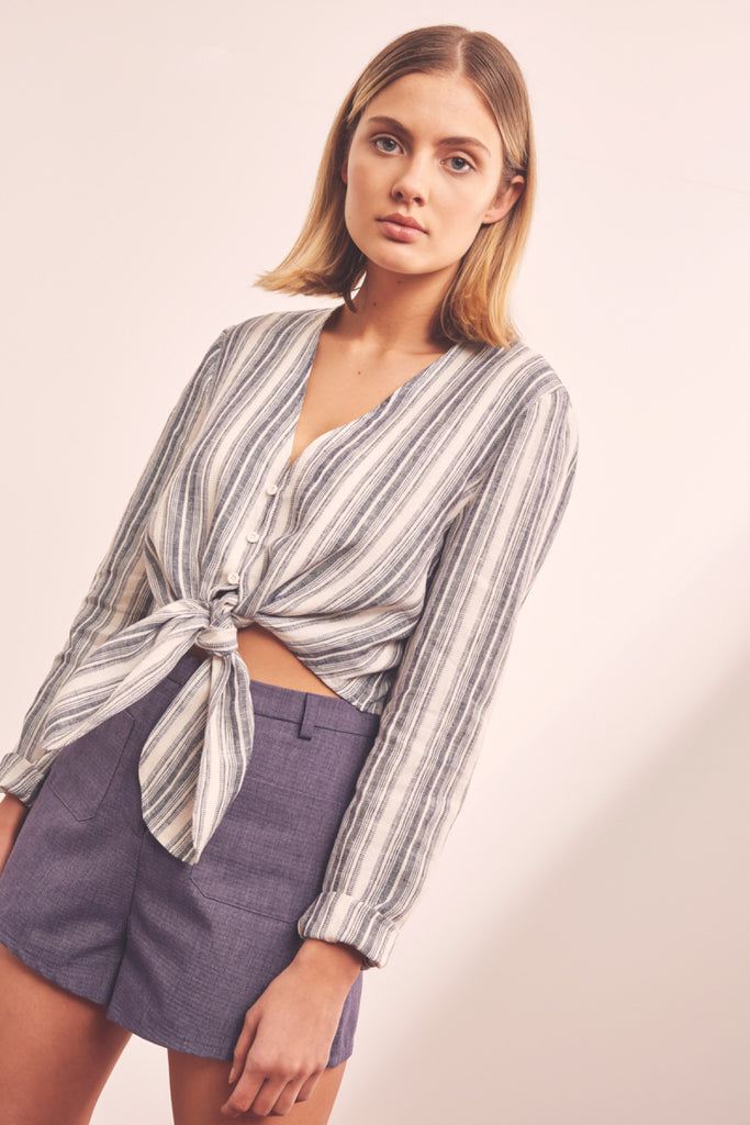 GUIDE STRIPE TOP navy w ivory