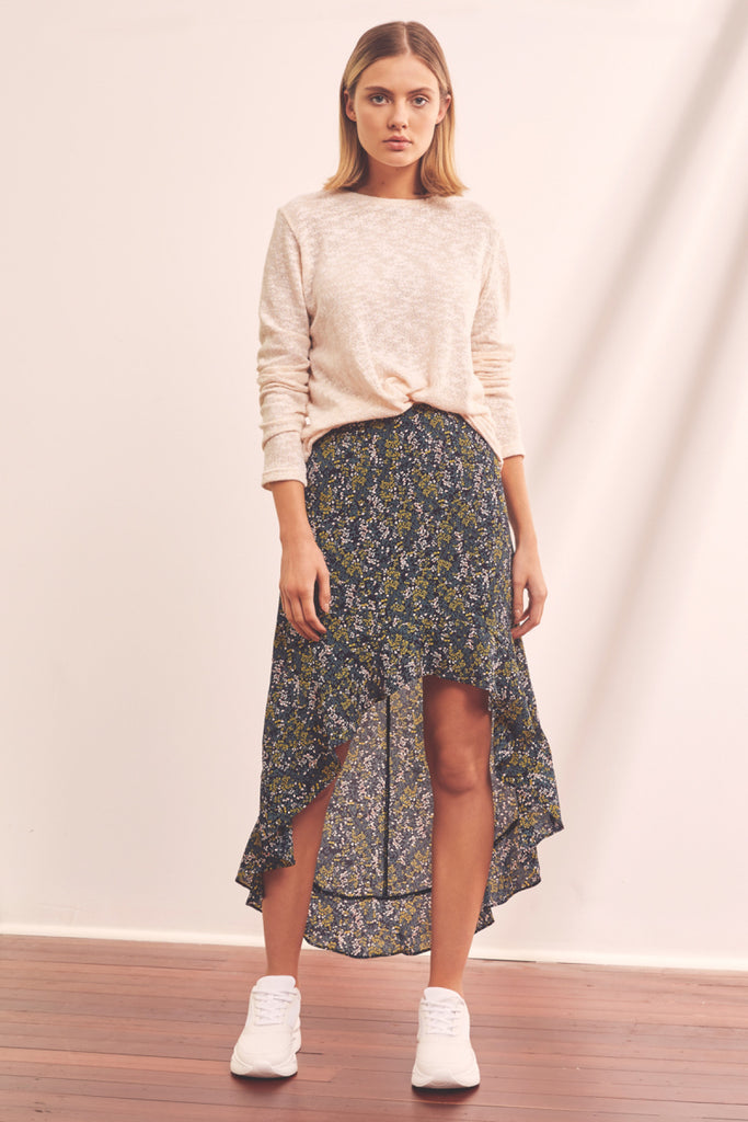 TOUR MIDI SKIRT navy field