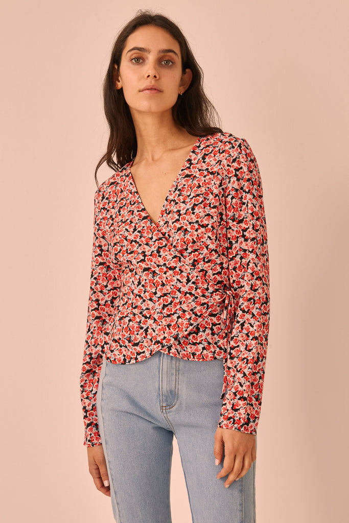 FRESCO LONG SLEEVE TOP black rosette