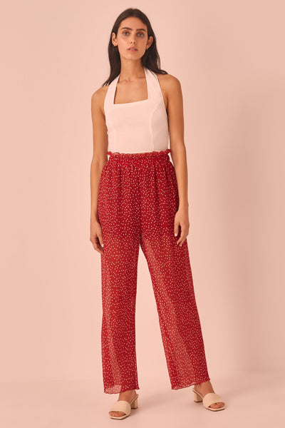 ASSEMBLAGE PANT red w white