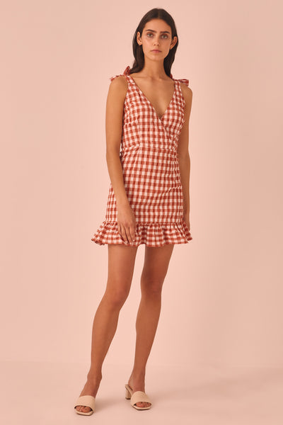 NOUVEAU CHECK DRESS rust w white