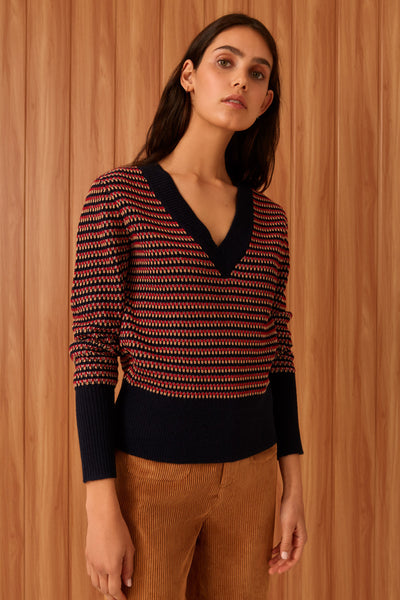PUBLICATION KNIT navy w red