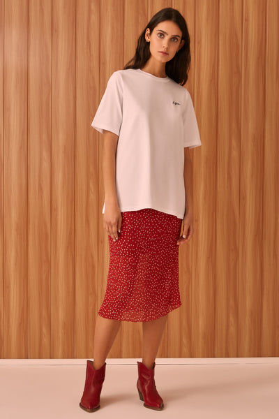 ASSEMBLAGE SKIRT red w white