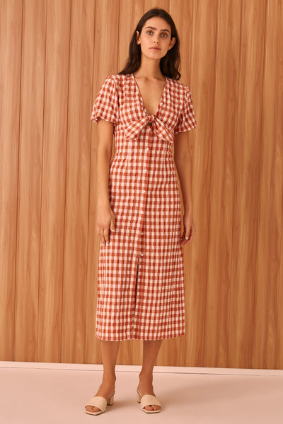 NOUVEAU CHECK MAXI DRESS rust w white