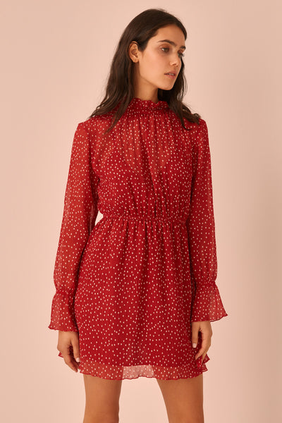 ASSEMBLAGE LONG SLEEVE DRESS red w white