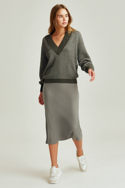 CLIMATIC KNIT sage w white
