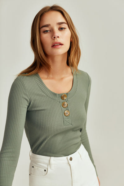 FOREST LONG SLEEVE TOP sage