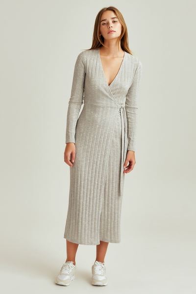 CARBON LONG SLEEVE DRESS grey marle