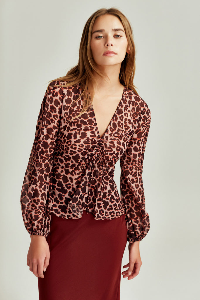LEOPARD LONG SLEEVE TOP peach leopard