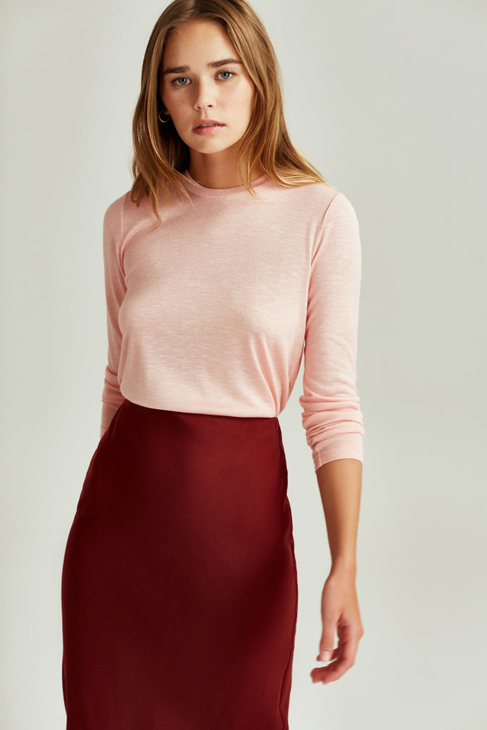SHADED LONG SLEEVE TOP light peach