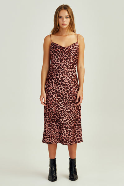 LEOPARD DRESS peach leopard