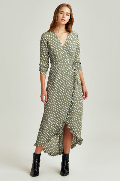 KALEIDOSCOPE WRAP DRESS sage w ivory floral