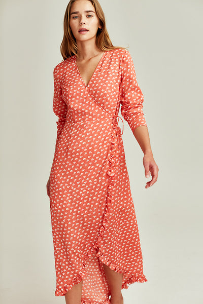 KALEIDOSCOPE WRAP DRESS coral w ivory floral