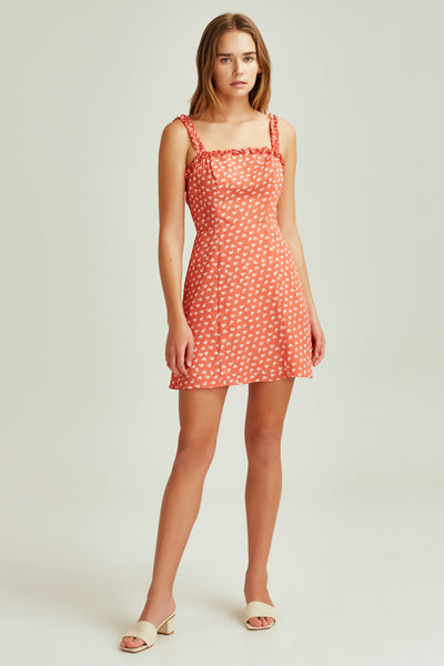 KALEIDOSCOPE DRESS coral w ivory floral