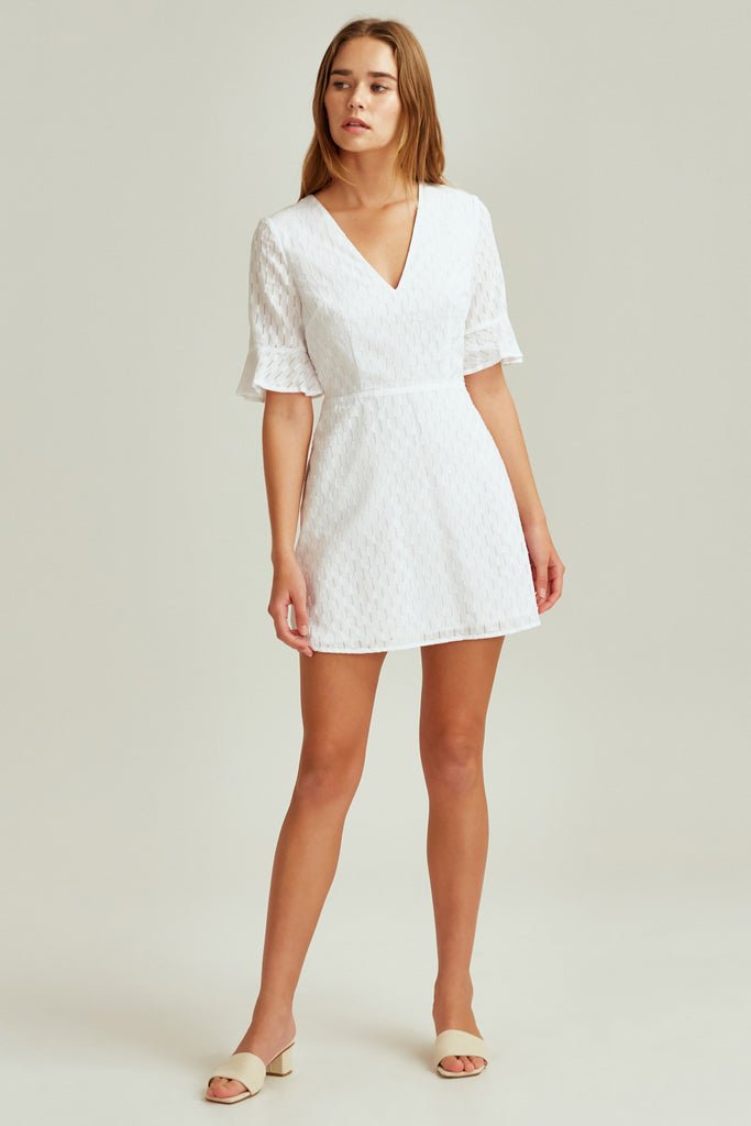 BINOCULAR DRESS white