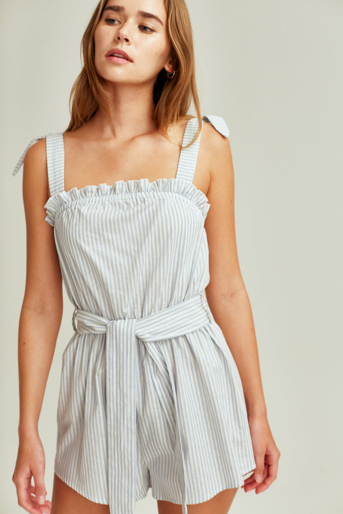 SAVANNAH STRIPE PLAYSUIT blue w white