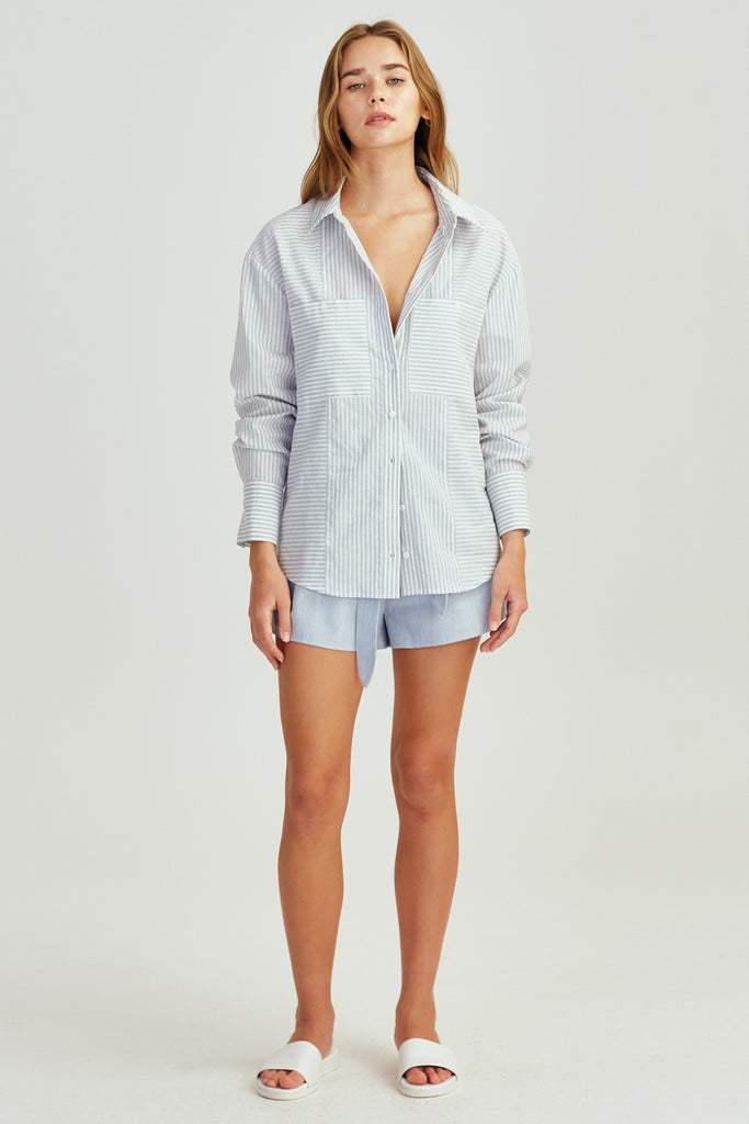 SAVANNAH STRIPE SHIRT blue w white