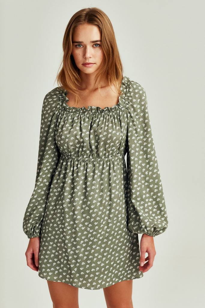KALEIDOSCOPE LONG SLEEVE DRESS sage w ivory floral