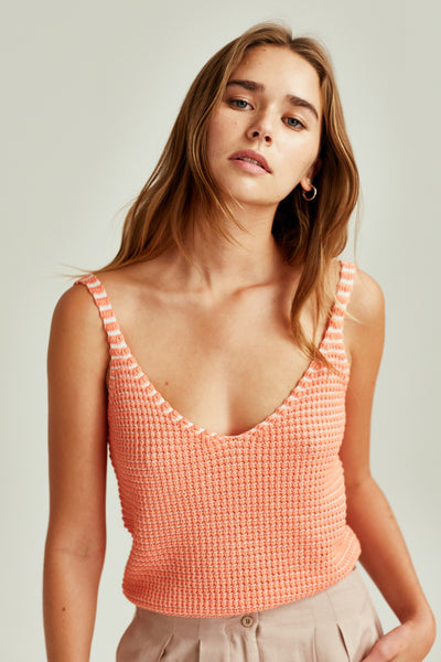 CLIMATIC TOP peach w white