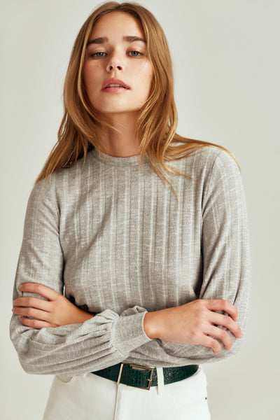 CARBON LONG SLEEVE TOP grey marle