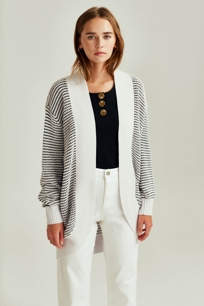 CLIMATIC CARDIGAN black w white