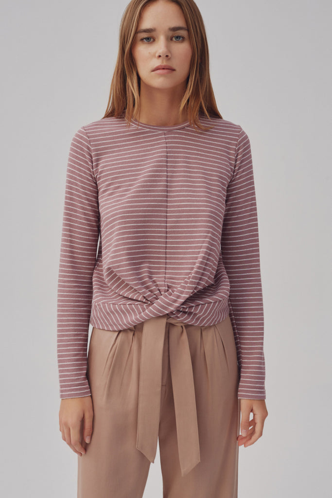 DIGITAL STRIPE TOP mauve w white