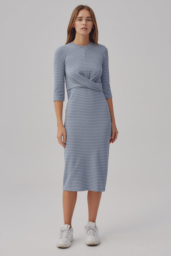 DIGITAL STRIPE DRESS dusty blue w white