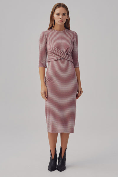 DIGITAL STRIPE DRESS mauve w white