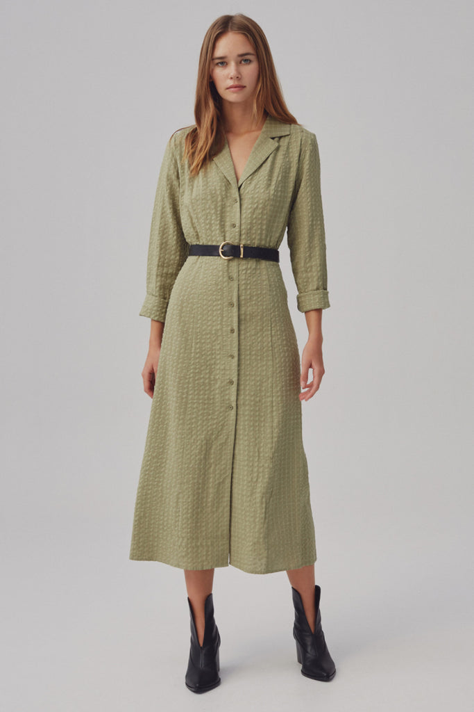 CONTEXT LONG SLEEVE DRESS olive