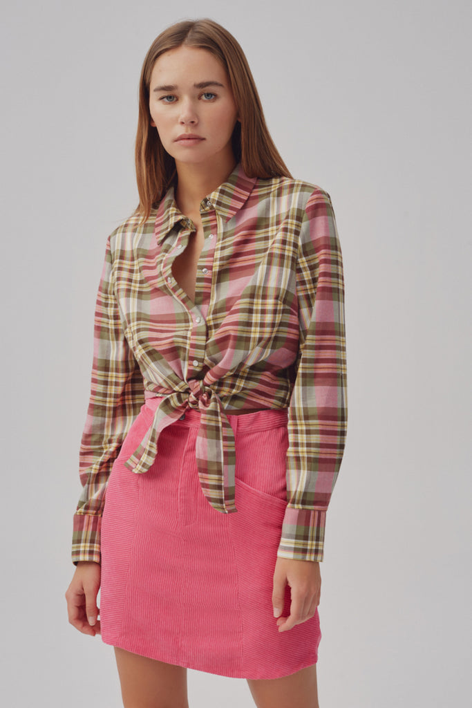 GRID CHECK SHIRT sage w pink