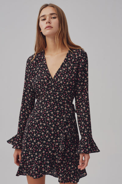 CURRENT WRAP DRESS midnight floral