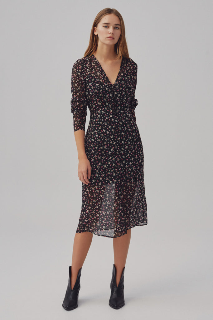 CURRENT LONG SLEEVE MIDI DRESS midnight floral