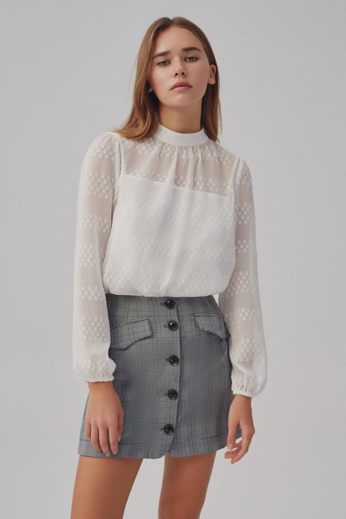 VOLTAGE LONG SLEEVE TOP ivory