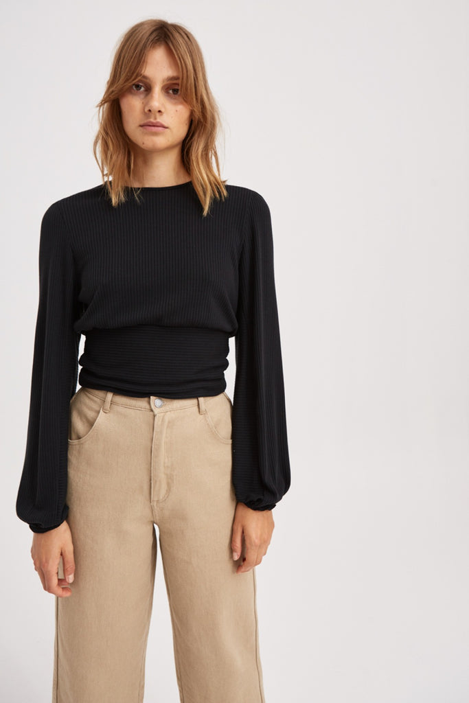 NEWTOWN LONG SLEEVE TOP black