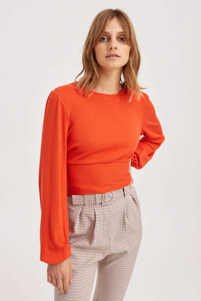 NEWTOWN LONG SLEEVE TOP orange