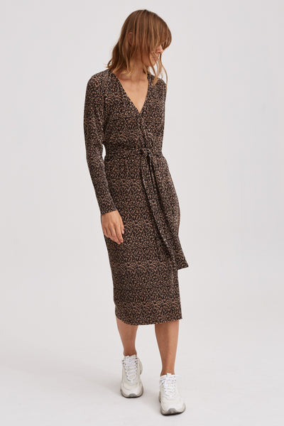 SALOON LONG SLEEVE DRESS leopard
