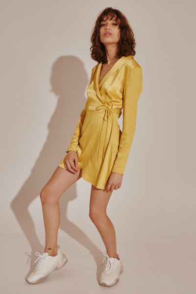 TONIC LONG SLEEVE DRESS golden yellow