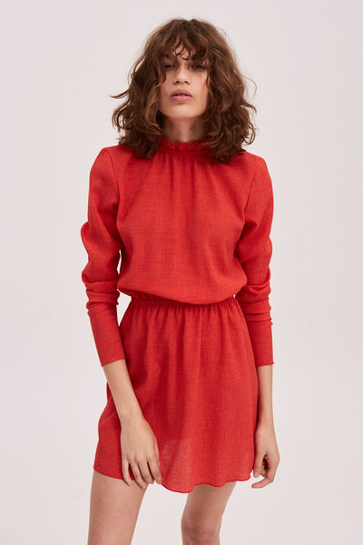 PITCH LONG SLEEVE DRESS red
