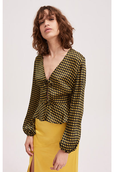 GOLDIE CHECK LONG SLEEVE TOP yellow w black