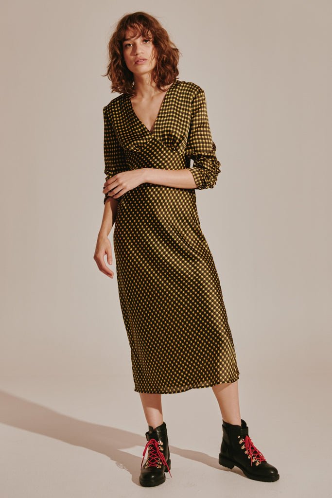 GOLDIE CHECK LONG SLEEVE MIDI DRESS yellow w black
