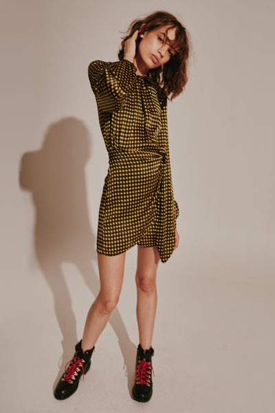 GOLDIE CHECK LONG SLEEVE DRESS yellow w black