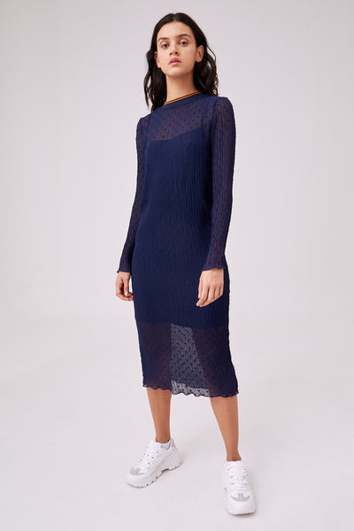 COLLEGE LONG SLEEVE DRESS navy