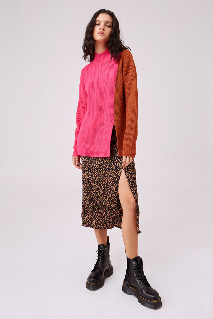 FICTION KNIT pink w tan