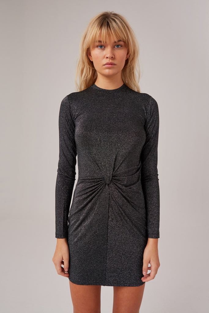 BACKBEAT LONG SLEEVE DRESS metallic black