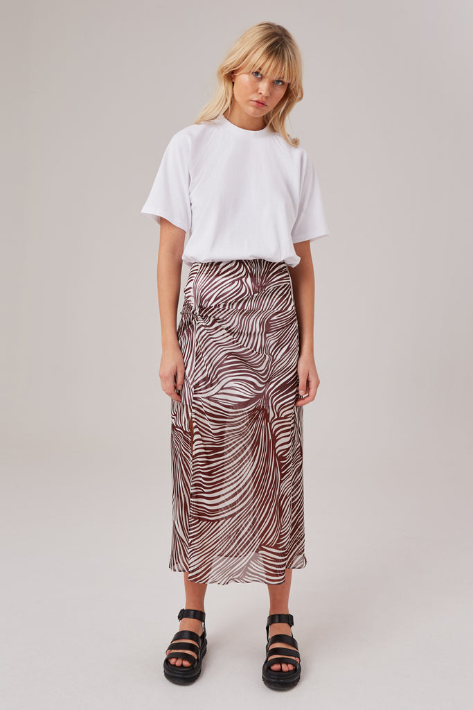REGION SKIRT chocolate w white zebra