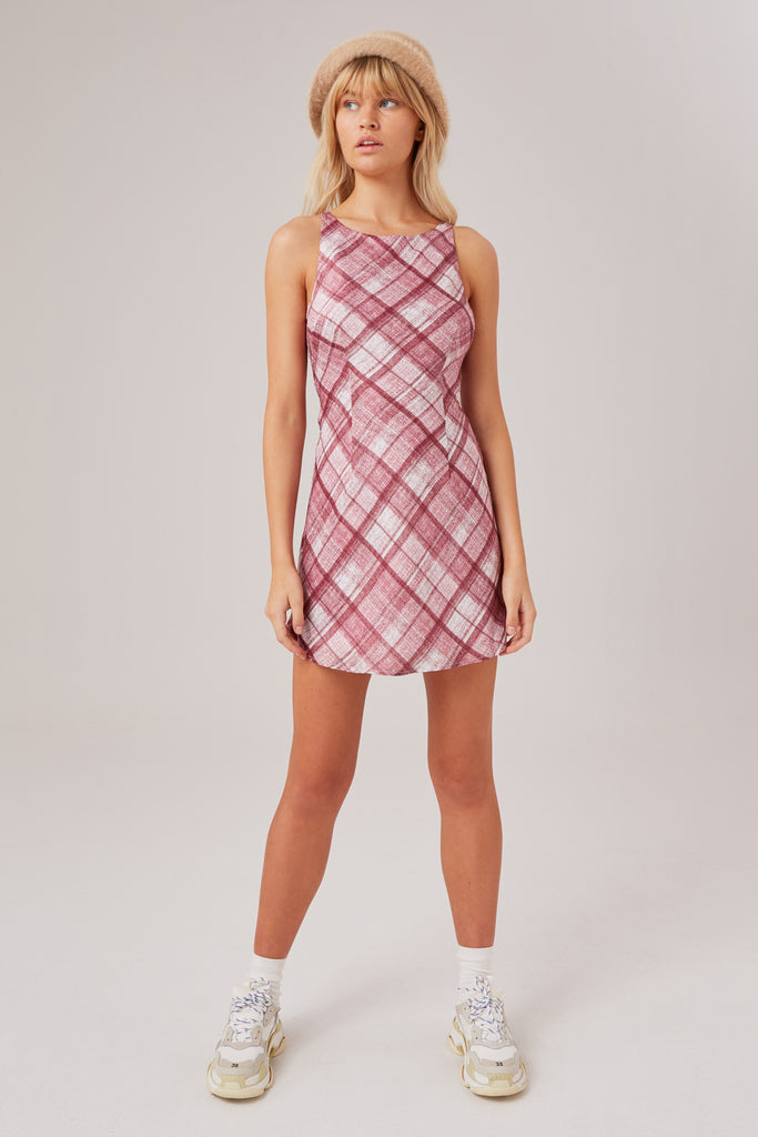 CLIMATE CHECK DRESS merlot w white